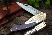 "DKC-529 VINEYARD MASTER Damascus Steel Folding Pocket Knife 4.5"" Folded 8"" Long 3"" Blade 6 oz High Class Hand Made DKC Knives"