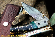 "++ DKC-135 SWAMP JACK Damascus Steel Folding Pocket Knife 4.5"" Folded 8"" Open 7.5oz 3.5"" Blade High Class Looks Incredible Feels Great In Your Hand And Pocket Damascus Bolster DKC Knives"