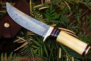 "DKC-30 ALASKA Damascus Steel Hunting Bowie Knife 10.5"" Long 5"" Blade 8oz DKC Knives"