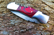 "DKC-775 GLEN ELLEN Laguiole Damascus Steel Folding Pocket Knife Rose Wood 3.8 oz 7"" long 4"" Blade DKC KNIVES"