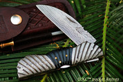 "DKC-106 FLY BOY Damascus Steel 3.5"" Blade 4.5' Folded 8"" Open 8.5 oz Pocket Folding Knife DKC Knives Hand Made Incredible Look and Feel"