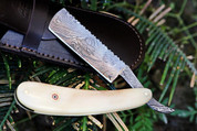 "++ DKC-538 White Prince Barber Razor Damascus Steel 6"" Long 2.75"" Blade 2.5 oz White Bone"
