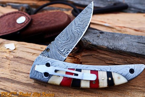 "DKC-160-PC RED HERRING Pocket Clip Damascus Folding Pocket Knife 4.5"" Folded 8"" Open 8.2 oz 3.5 "" Blade"