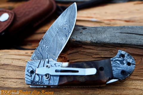 "DKC-726-PC CLINT Pocket Clip Damascus Folding Pocket Knife 4.5"" Folded 7.5"" Long 3"" Blade 8 oz oz"