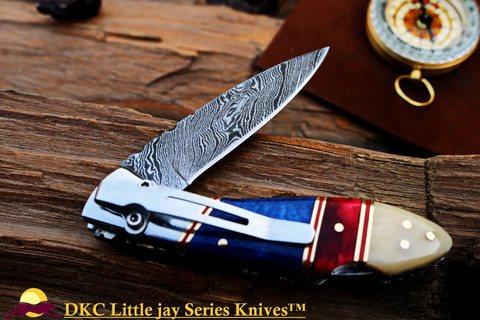 "DKC-58-LJ-CL-DS-PC LITTLE JAY Classic with Pocket Clip Damascus Folding Pocket Knife 4"" Folded 7"" Approx 3.25""Blade a Long 4.7oz oz"