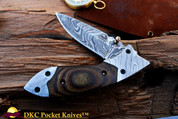 "DKC-154-BSW  FANG Brown Swirl Damascus Steel Hand Made Pocket Folding Knife DKC Knives (TM) 9oz 4.5"" Closed 7"" Open 3.5"" Blade"