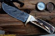 "DKC-838 Python Damascus Steel Knife 12 oz 5.5"" Blade 10.25"" Long Stag Horn Handle"