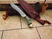 "DKC-6007 Green Viper Damascus Steel Hunting Bowie Knife DKC Knives 1.2lbs 15""Long 10'' Blade"