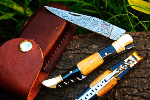 "DKC-53 BLONDE SQUIRE Damascus Folding Laguiole Pocket Knife 4.5"" Folded 8"" Long 2.5oz oz High Class Looks Incredible Feels Great In Your Hand And Pocket Hand Made DKC Knives ™"