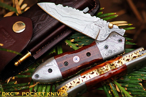 "DKC-59 DARTMOUTH Damascus Folding Pocket Knife 4.5"" Folded 7.5"" Long 7.7oz oz"