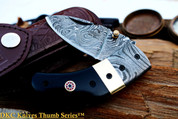 "DKC-43 BLACK THUMB Damascus Folding Pocket Knife 3.5"" Folded 7.5"" Open 7.5oz 2.25"" Blade"
