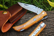 """DKC-50 SLY FOX Damascus Folding Pocket Knife 4"""" Folded 7.5"""" Long 3.4 oz High Class Looks Incredible Feels Great In Your Hand And Pocket Hand Made DKC Knives ™"""
