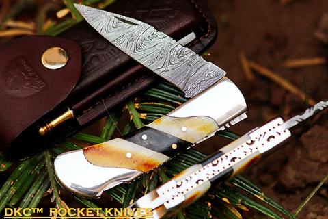 """DKC-60 SILVER SCOTCH Damascus Folding Pocket Knife 4.2"""" Folded 7.5"""" Long 6.9oz oz"""
