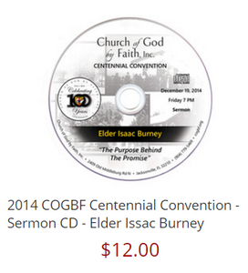 2014 COGBF Centennial Convention - Sermon CD - Elder Issac Burney