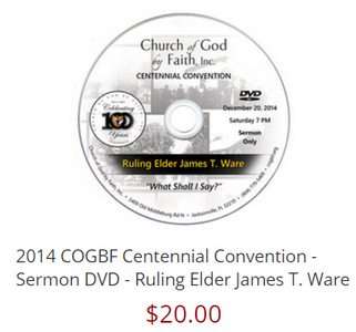 2014 COGBF Centennial Convention - Sermon DVD - Ruling Elder James T. Ware