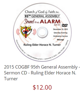 2015 COGBF 95th General Assembly - Sermon CD - Ruling Elder Horace N. Turner