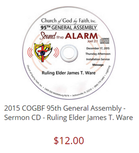 2015 COGBF 95th General Assembly - Sermon CD - Ruling Elder James T. Ware