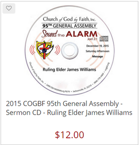 2015 COGBF 95th General Assembly - Sermon CD - Ruling Elder James Williams