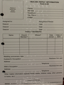 Deacon Family Information Form , D-33 (100 per pack)