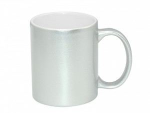 11oz Premium Metallic Silver Photo Mug for Sublimation - AAA Grade