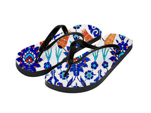 Sublimation Flip Flops with 3 Strap Color Options and Black Base - Adult Medium
