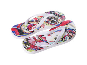 Sublimation Flip Flops with 3 Strap Color Options and White Base - Adult Medium