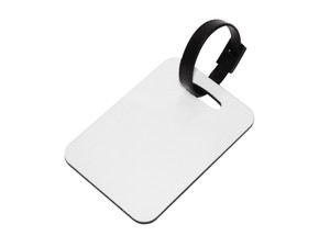 Single Sided Hardboard 2.75 x 4 in Luggage Tag with Black Strap