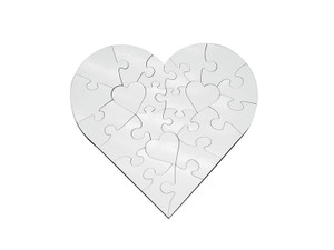 Heart Shaped 6.7 in (17cm) 23 Pieces Hardboard Jigsaw Puzzle