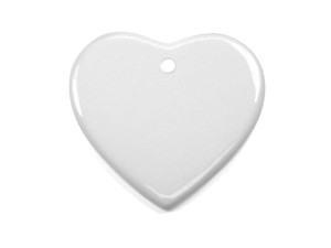 "3"" Heart Shaped Ceramic Ornament with Hole"