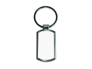 Round Corner Rectangle Silver Key Ring 3.5 inches