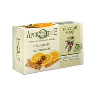 Moisturizing olive oil soap enriched with orange oil and cinnamon, suitable for dry skin