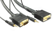 2M SVGA HD15M/F Cable With 3.5MM Audio