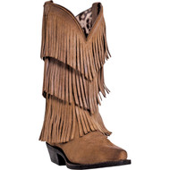 Dingo Women's Tres Fringe Tan Burnished All Suede DI7442 Boot