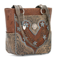 American West Desert Wildflower Zip Top Tote with 3 Outside Pockets 5683324