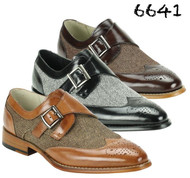 GIOVANNI MEN'S 6641 LEATHER AND SUEDE WINGTIP MONK STRAP SHOE