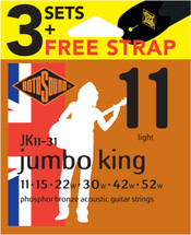 Rotosound 3 Set Acoustic Strings + FREE STRAP - 11/52 Phos Bronze