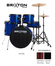 BRIXTON 5 Piece Drum Kit - Blue/Wine Red/Black