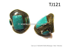 afghan ladies large bangles with turquoise stones