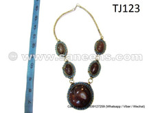 afghan jewelry necklace with agate gemstone