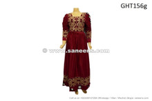 afghan muslim wedding dress gown in burgundy color