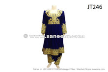 afghan dress in blue velvet