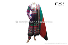 traditional afghan persian pashtun bridal wedding dress frock in black color