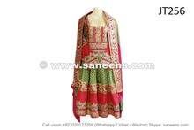 afghan muslim wedding green dress with embroidered laces