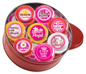 "BABY GIRL ""Cookie Talk"" Oreo Assortment - 16 Message Cookies in a Tin"