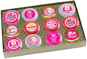 "BABY GIRL ""Cookie Talk"" Oreo Assortment - 12 Message Cookies in Gift Box"