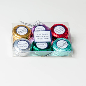 BUSINESS GIFT  - CHOCOLATE OREO - CUSTOM 6 PK. - Foil-wrapped with Labels