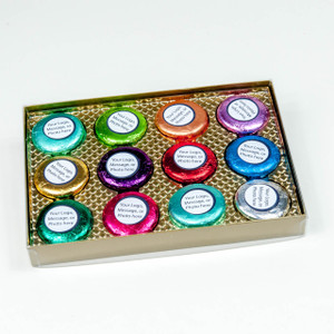 CHOCOLATE OREOS - 12 PC. CUSTOM GIFT BOX - Your Message, Your Logo, Your Photos