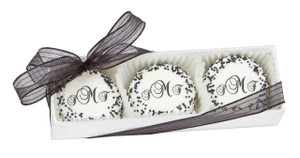 FAVOR - CUSTOM OREO TRIOS (Direct Print) - YOUR MONOGRAM - 3 PC BOX