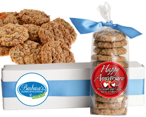 HAPPY ANNIVERSARY FRESH-BAKED CRUNCHY & HEARTY COOKIES - 4 Varieties/ All Sizes: Chocolate Chips, Nuts, M&MS or Cranberry
