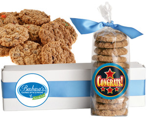 CONGRATULATIONS FRESH-BAKED CRUNCHY & HEARTY COOKIES - 4 Varieties/ All Sizes: Chocolate Chips, Nuts, M&MS or Cranberry